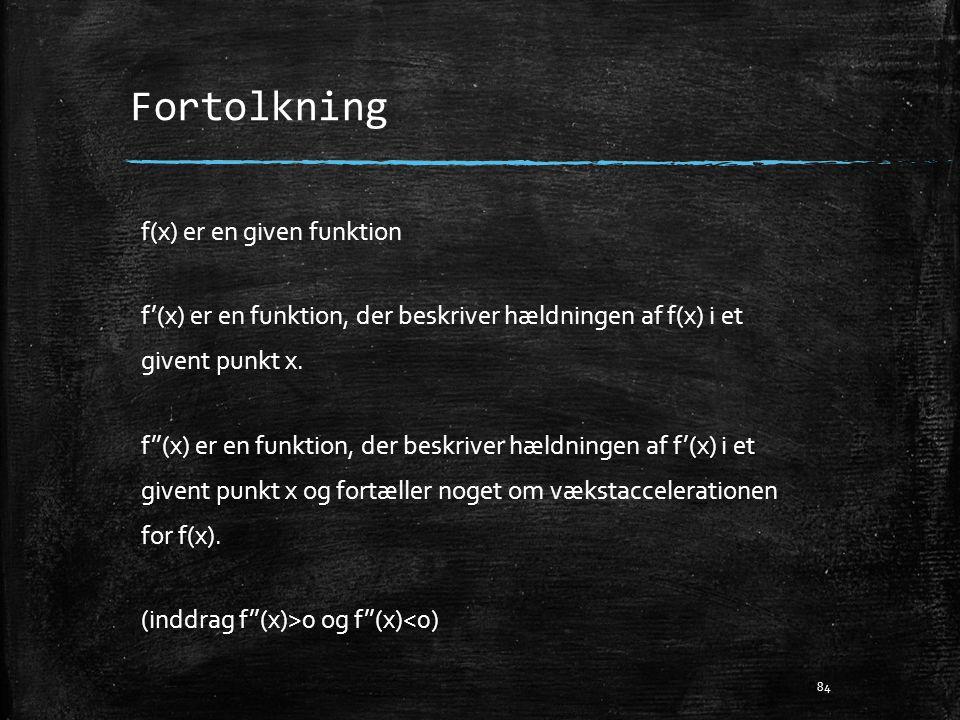 Fortolkning f(x) er en given funktion f'(x) er en funktion, der beskriver hældningen af f(x) i et givent punkt x. f''(x) er en funktion, der beskriver