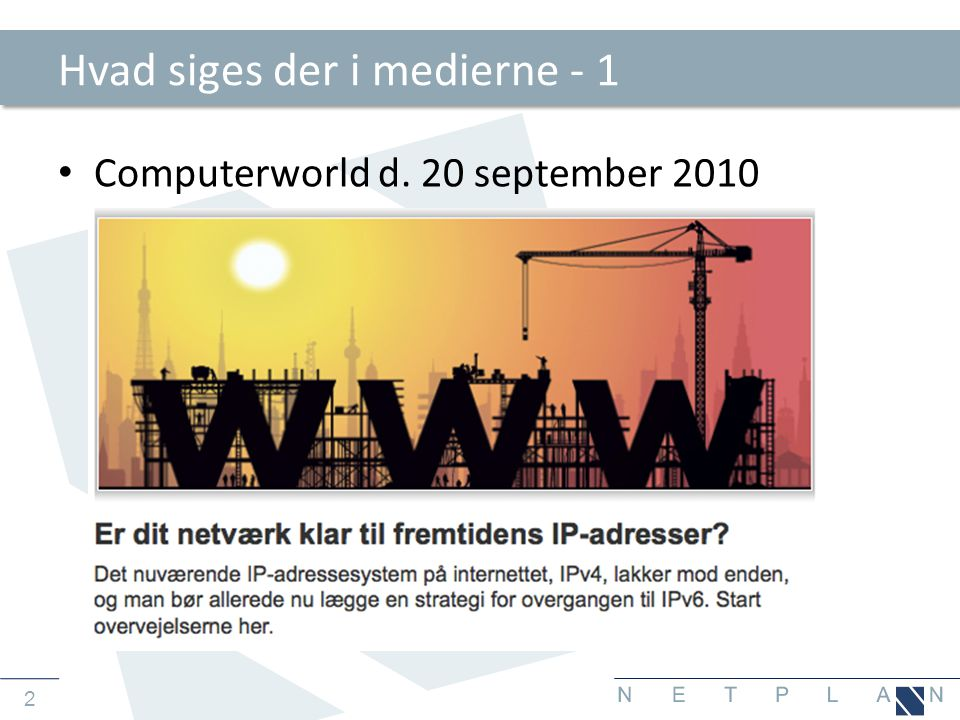23 DNS server opsummering • Ny syntaks, men samme opbygning af DNS server • Eksisterende DNS server supporterer måske ikke IPv6.