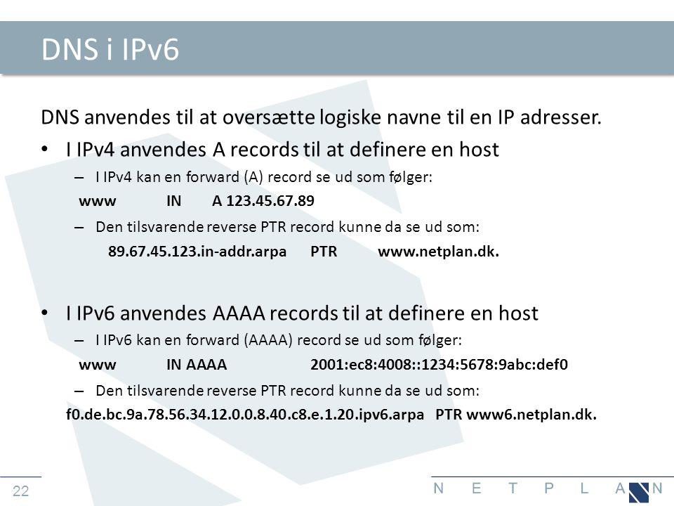 22 DNS i IPv6 DNS anvendes til at oversætte logiske navne til en IP adresser.