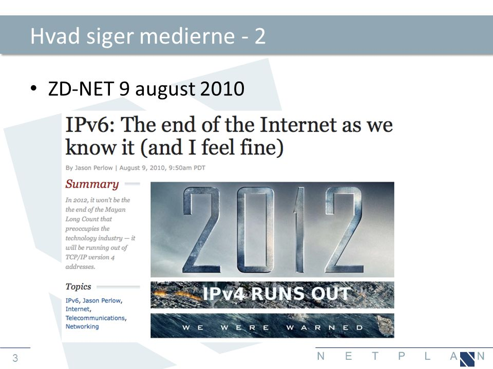 24 Hierarkisk adressering og aggregering • Her ses tydeligt idéen bag den hierarkiske opbygning af det offentlige Internet med IPv6 adressering • En ISP'er ejer alle adresser startende med 2001:0DB8::/32 • Til kunde 1 uddeles 2001:DB8:0001::/48 – til kunde 2 uddeles 2001:DB8:0002::/48 • Kunde1 opdeler eget netværk i to segmenter: -2001:DB8:0001:0001::/64 -2001:DB8:0001:0002::/64