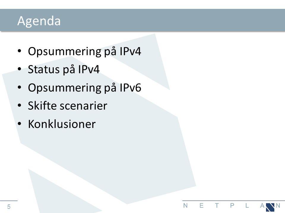6 IPv4 • IP version 4 er en IETF defineret kommunikationsprotokol – Defineret i RFC 791 fra 1981 – 32 bits adresse, opdelt i 4 oktetter (Bytes) – 2 32 mulige adresser (4.294.967.296 = 4 Milliarder) – Ca.