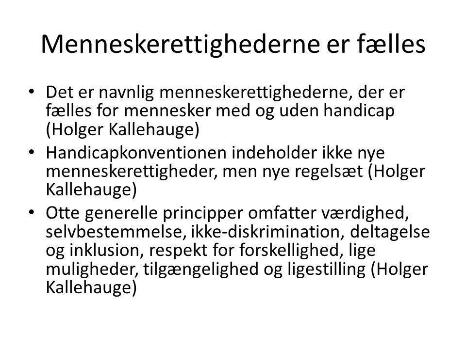 Menneskerettighederne er fælles • Det er navnlig menneskerettighederne, der er fælles for mennesker med og uden handicap (Holger Kallehauge) • Handicapkonventionen indeholder ikke nye menneskerettigheder, men nye regelsæt (Holger Kallehauge) • Otte generelle principper omfatter værdighed, selvbestemmelse, ikke-diskrimination, deltagelse og inklusion, respekt for forskellighed, lige muligheder, tilgængelighed og ligestilling (Holger Kallehauge)