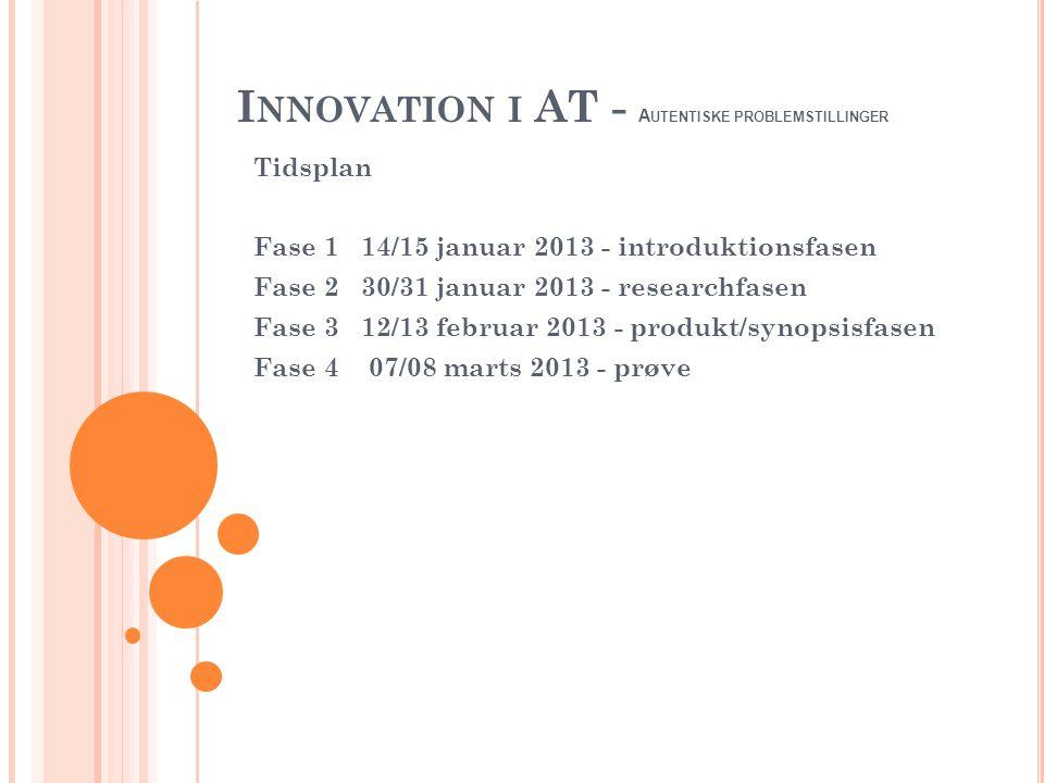 I NNOVATION I AT - A UTENTISKE PROBLEMSTILLINGER Tidsplan Fase 1 14/15 januar 2013 - introduktionsfasen Fase 2 30/31 januar 2013 - researchfasen Fase