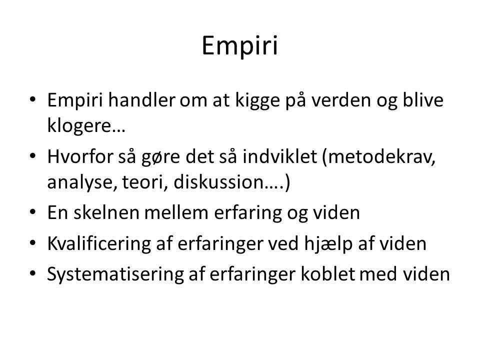 Empiri • Empiri handler om at kigge på verden og blive klogere… • Hvorfor så gøre det så indviklet (metodekrav, analyse, teori, diskussion….) • En ske