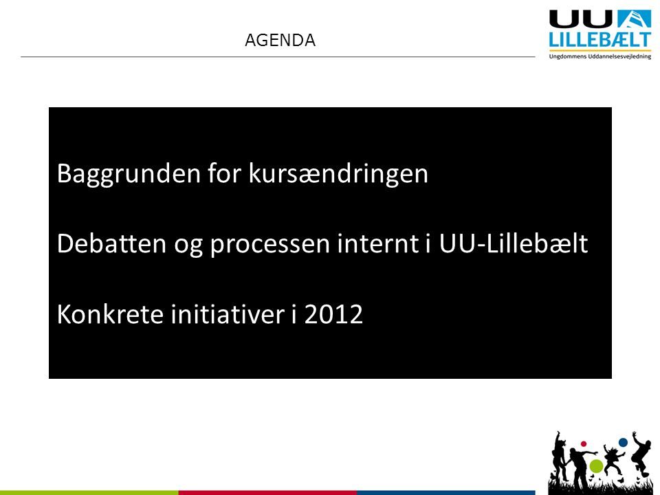 Baggrunden for kursændringen Debatten og processen internt i UU-Lillebælt Konkrete initiativer i 2012 AGENDA