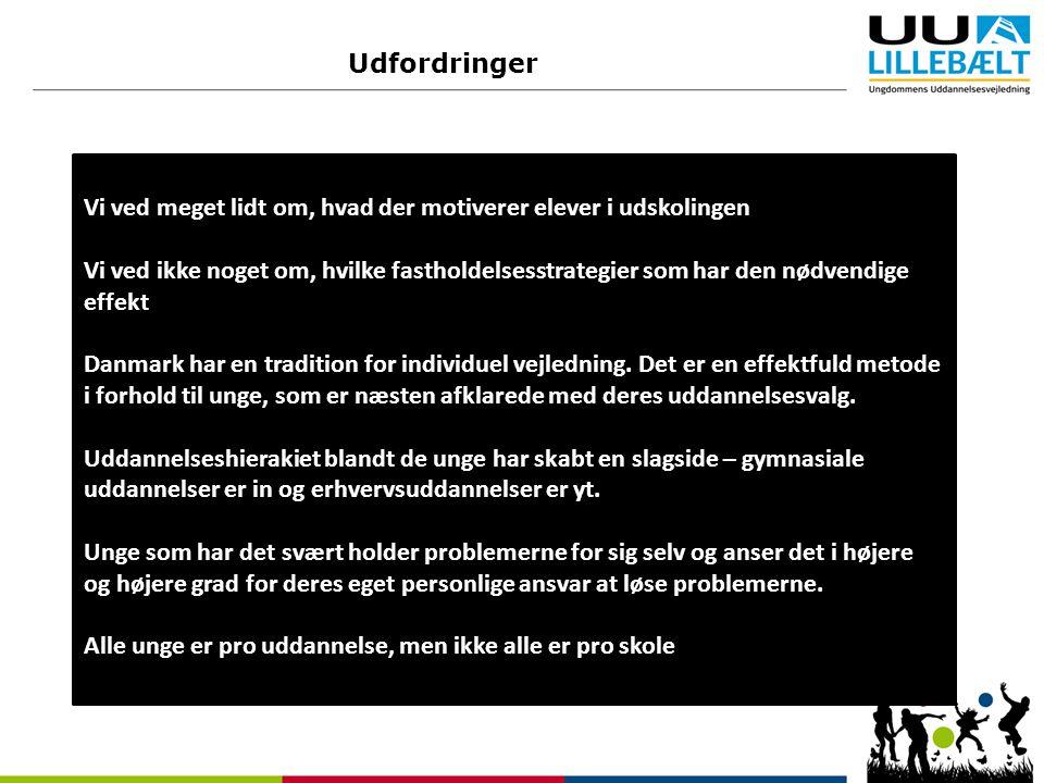 Udfordringer Vi ved meget lidt om, hvad der motiverer elever i udskolingen Vi ved ikke noget om, hvilke fastholdelsesstrategier som har den nødvendige effekt Danmark har en tradition for individuel vejledning.