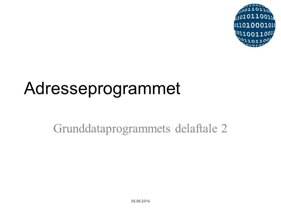 Adresseprogrammet Grunddataprogrammets delaftale 2 05-06-2014