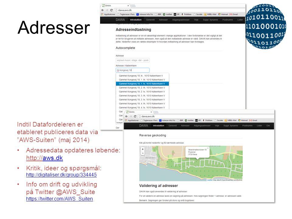 """Indtil Datafordeleren er etableret publiceres data via """"AWS-Suiten"""" (maj 2014) •Adressedata opdateres løbende: http://aws.dkaws.dk •Kritik, ideer og s"""
