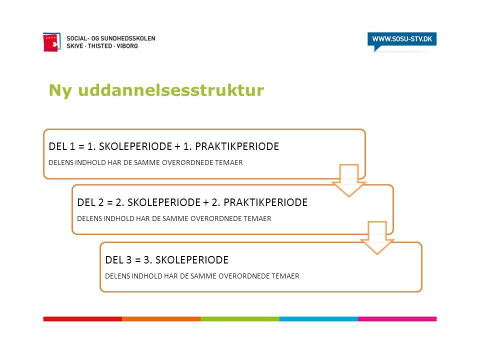 Ny uddannelsesstruktur DEL 1 = 1. SKOLEPERIODE + 1. PRAKTIKPERIODE DELENS INDHOLD HAR DE SAMME OVERORDNEDE TEMAER DEL 2 = 2. SKOLEPERIODE + 2. PRAKTIK