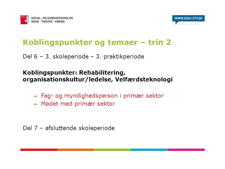Koblingspunkter og temaer – trin 2 Del 6 – 3. skoleperiode – 3. praktikperiode Koblingspunkter: Rehabilitering, organisationskultur/ledelse, Velfærdst