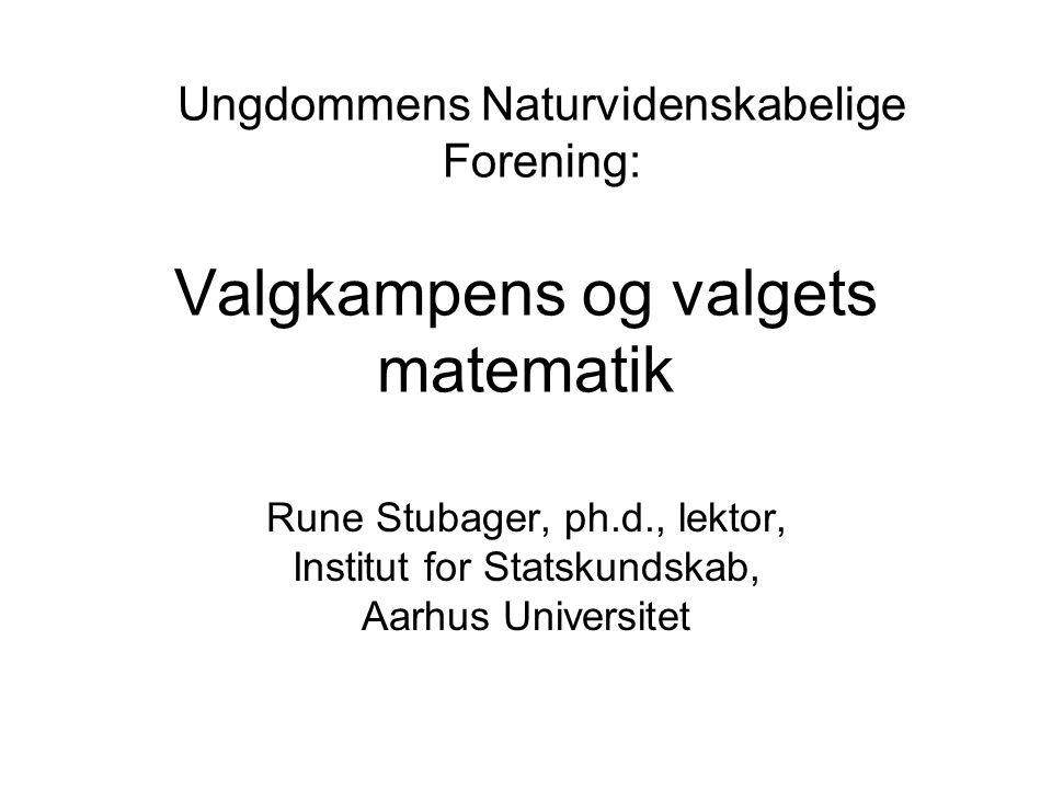 Valgkampens og valgets matematik Rune Stubager, ph.d., lektor, Institut for Statskundskab, Aarhus Universitet Ungdommens Naturvidenskabelige Forening: