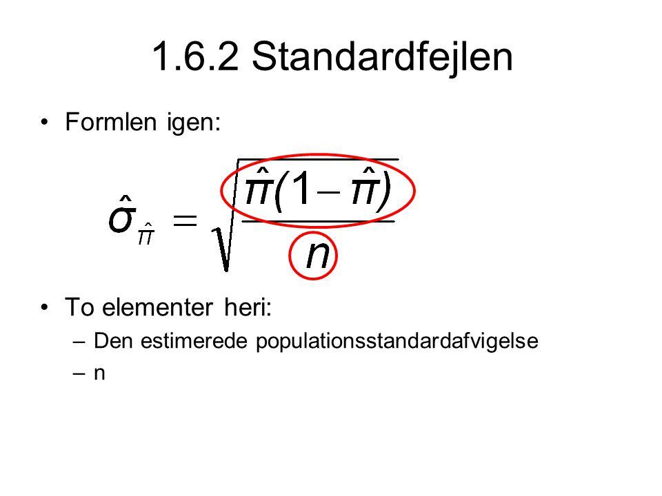 1.6.2 Standardfejlen •Formlen igen: •To elementer heri: –Den estimerede populationsstandardafvigelse –n