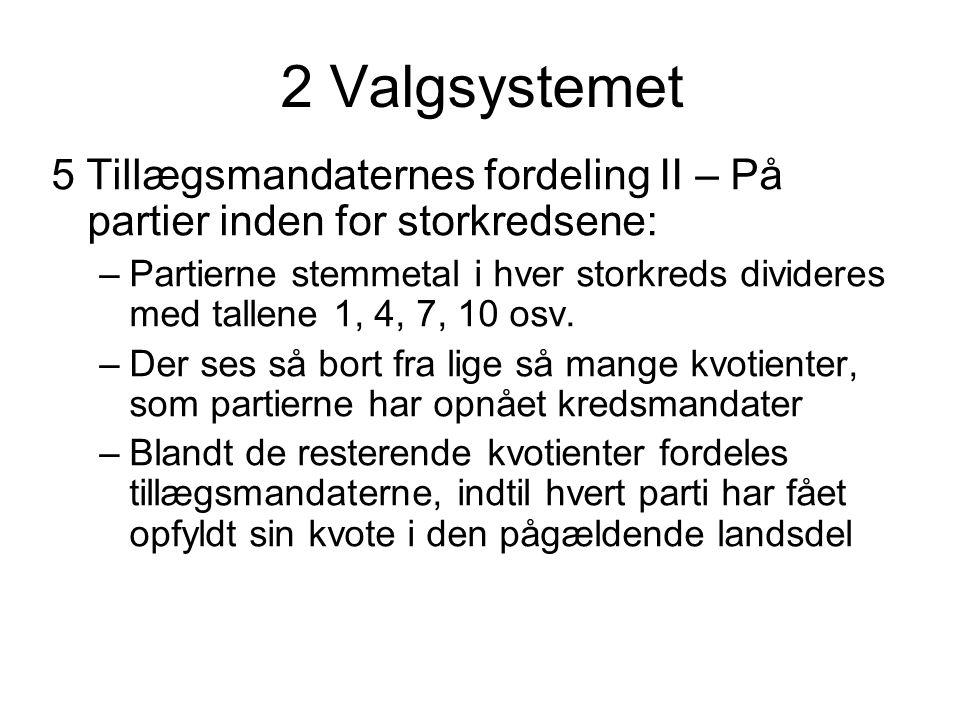 2 Valgsystemet 5 Tillægsmandaternes fordeling II – På partier inden for storkredsene: –Partierne stemmetal i hver storkreds divideres med tallene 1, 4, 7, 10 osv.