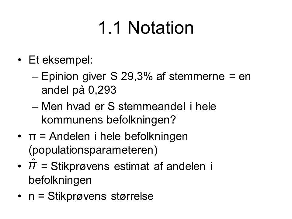 1.1 Notation •Et eksempel: –Epinion giver S 29,3% af stemmerne = en andel på 0,293 –Men hvad er S stemmeandel i hele kommunens befolkningen.