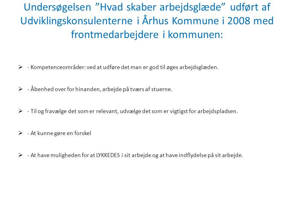 """Undersøgelsen """"Hvad skaber arbejdsglæde"""" udført af Udviklingskonsulenterne i Århus Kommune i 2008 med frontmedarbejdere i kommunen:  - Kompetenceområ"""