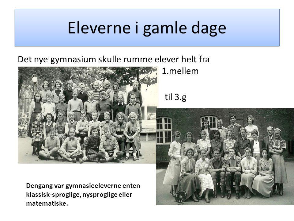 Eleverne i gamle dage Det nye gymnasium skulle rumme elever helt fra 1.mellem til 3.g Dengang var gymnasieeleverne enten klassisk-sproglige, nysprogli