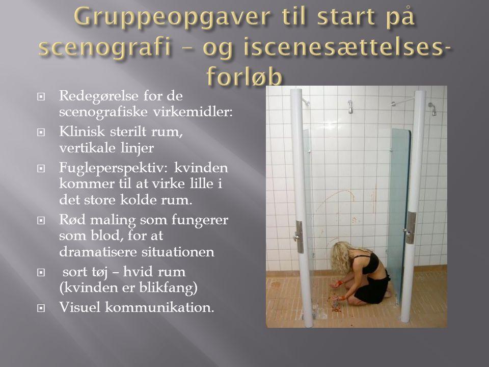  Redegørelse for de scenografiske virkemidler:  Klinisk sterilt rum, vertikale linjer  Fugleperspektiv: kvinden kommer til at virke lille i det store kolde rum.