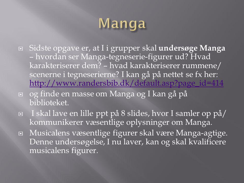  Sidste opgave er, at I i grupper skal undersøge Manga – hvordan ser Manga-tegneserie-figurer ud.