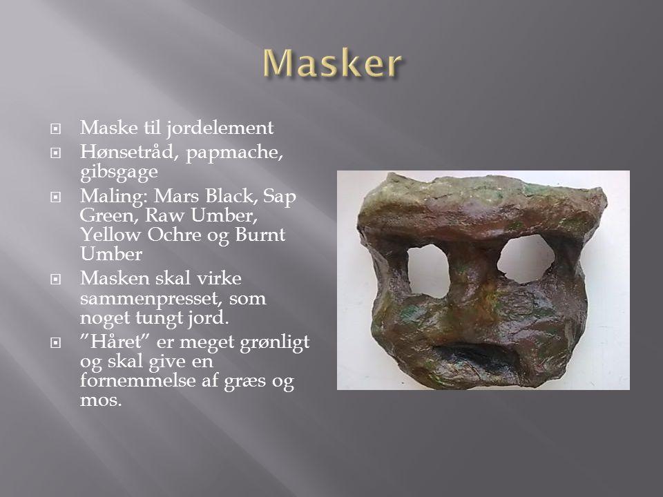  Maske til jordelement  Hønsetråd, papmache, gibsgage  Maling: Mars Black, Sap Green, Raw Umber, Yellow Ochre og Burnt Umber  Masken skal virke sa