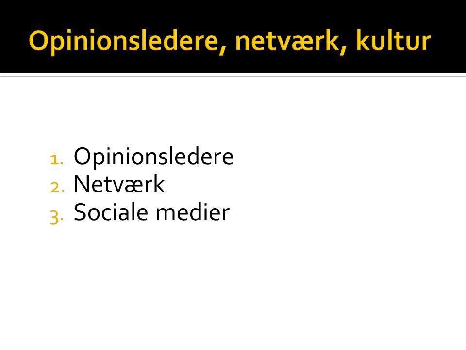 1. Opinionsledere 2. Netværk 3. Sociale medier