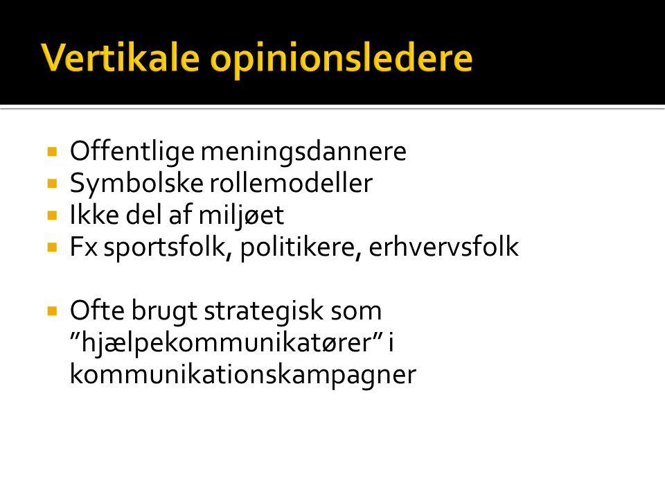 """ Offentlige meningsdannere  Symbolske rollemodeller  Ikke del af miljøet  Fx sportsfolk, politikere, erhvervsfolk  Ofte brugt strategisk som """"hjæ"""