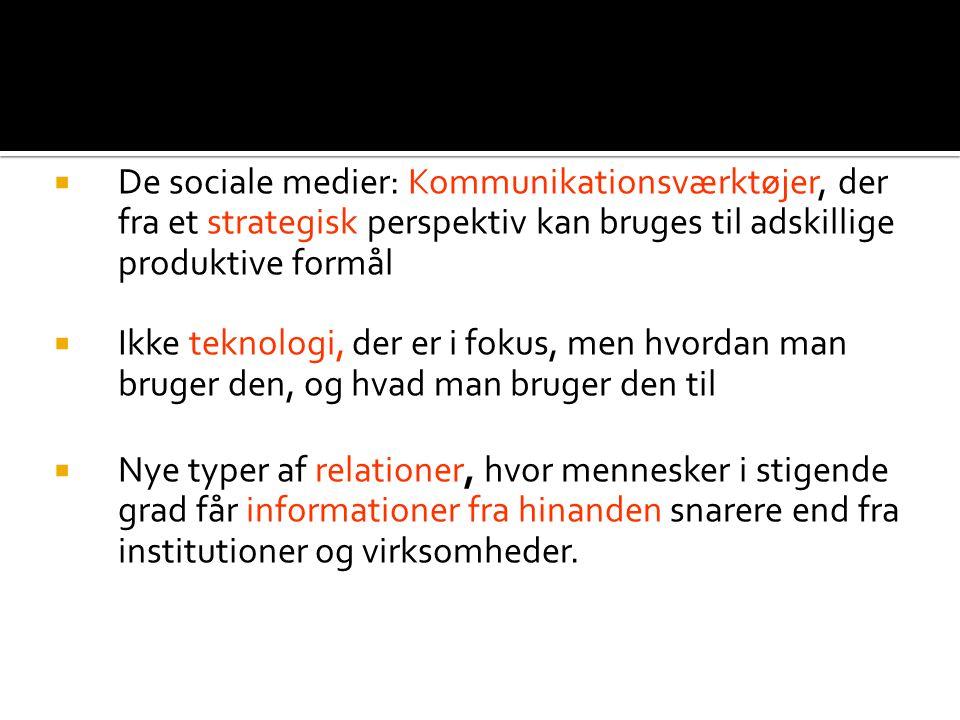 Kommunikationsværktøjer strategisk  De sociale medier: Kommunikationsværktøjer, der fra et strategisk perspektiv kan bruges til adskillige produktive