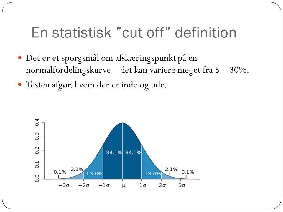 """En statistisk """"cut off"""" definition  Det er et spørgsmål om afskæringspunkt på en normalfordelingskurve – det kan variere meget fra 5 – 30%.  Testen"""