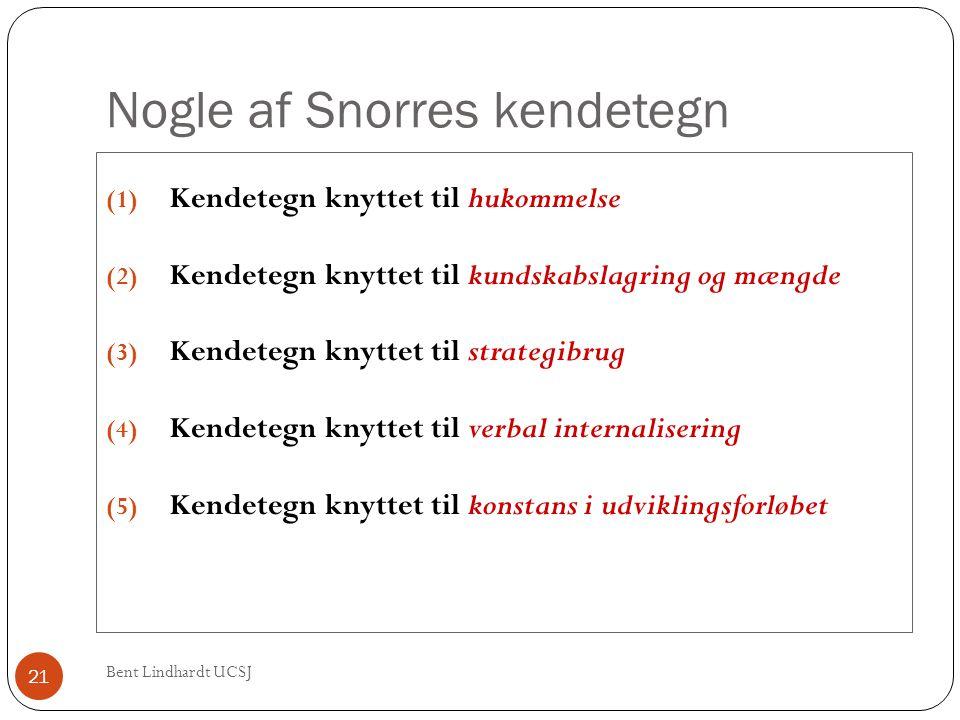 Nogle af Snorres kendetegn Bent Lindhardt UCSJ 21 (1) Kendetegn knyttet til hukommelse (2) Kendetegn knyttet til kundskabslagring og mængde (3) Kendet