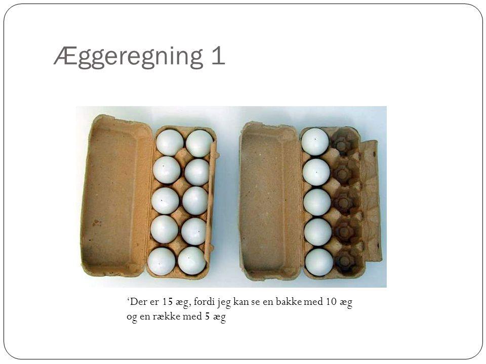 Æggeregning 1 'Der er 15 æg, fordi jeg kan se en bakke med 10 æg og en række med 5 æg