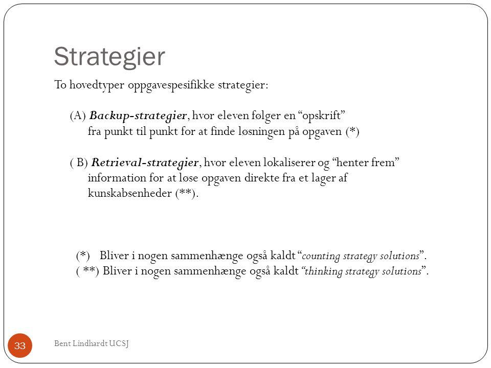 """Strategier Bent Lindhardt UCSJ 33 To hovedtyper oppgavespesifikke strategier: (A) Backup-strategier, hvor eleven følger en """"opskrift"""" fra punkt til pu"""