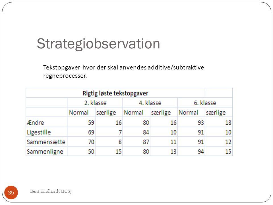 Strategiobservation Tekstopgaver hvor der skal anvendes additive/subtraktive regneprocesser. 35 Bent Lindhardt UCSJ