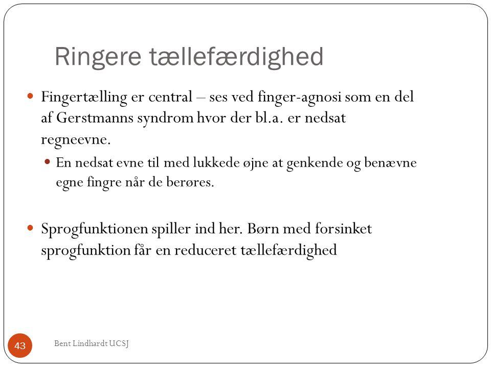 Ringere tællefærdighed  Fingertælling er central – ses ved finger-agnosi som en del af Gerstmanns syndrom hvor der bl.a. er nedsat regneevne.  En ne