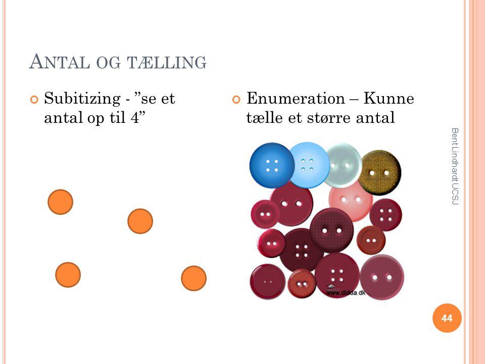 """A NTAL OG TÆLLING Subitizing - """"se et antal op til 4"""" Enumeration – Kunne tælle et større antal 44 Bent Lindhardt UCSJ"""