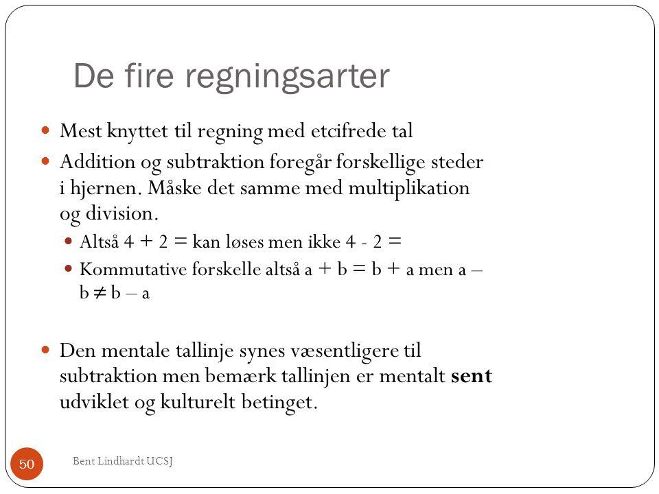De fire regningsarter  Mest knyttet til regning med etcifrede tal  Addition og subtraktion foregår forskellige steder i hjernen. Måske det samme med