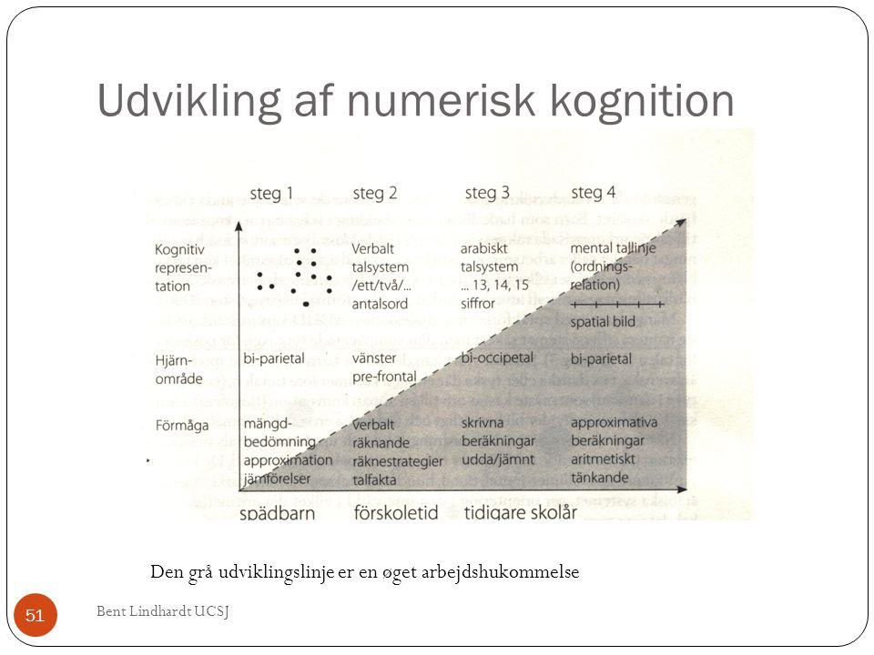 Udvikling af numerisk kognition Den grå udviklingslinje er en øget arbejdshukommelse 51 Bent Lindhardt UCSJ