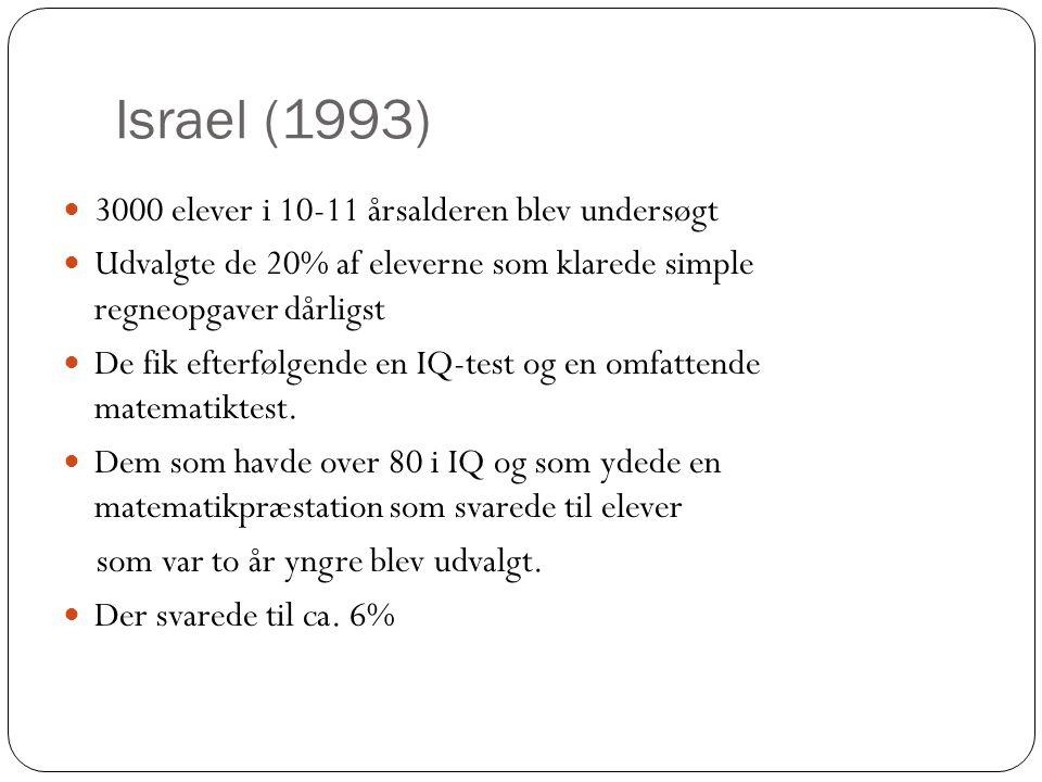 Israel (1993)  3000 elever i 10-11 årsalderen blev undersøgt  Udvalgte de 20% af eleverne som klarede simple regneopgaver dårligst  De fik efterføl
