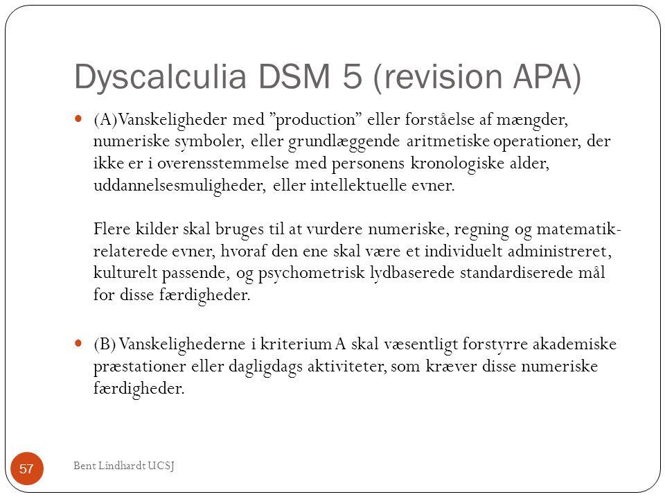 """Dyscalculia DSM 5 (revision APA)  (A)Vanskeligheder med """"production"""" eller forståelse af mængder, numeriske symboler, eller grundlæggende aritmetiske"""