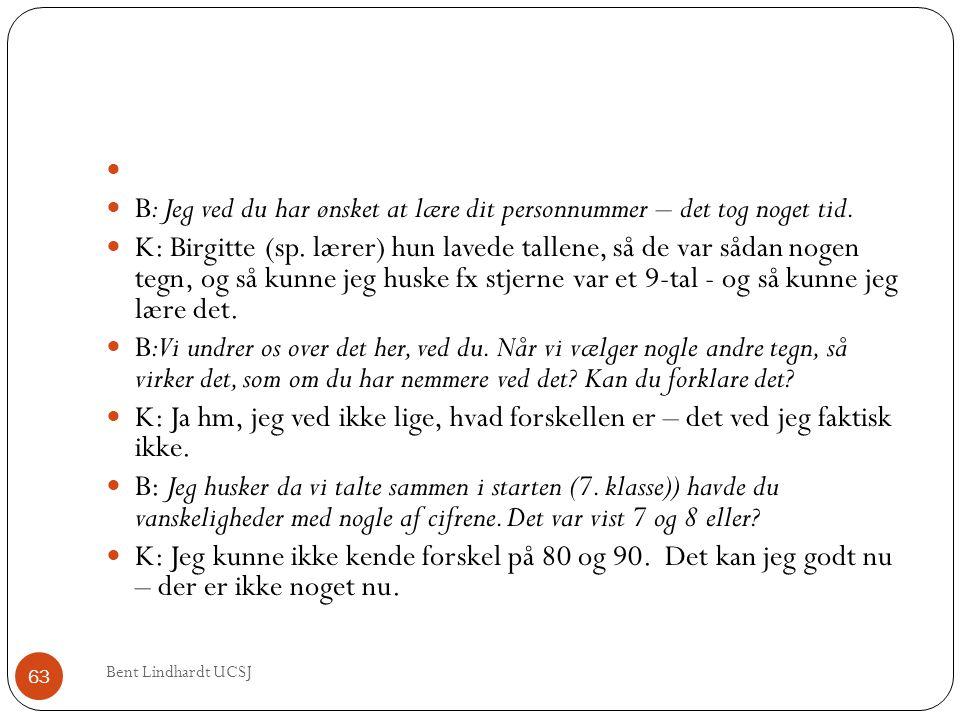   B: Jeg ved du har ønsket at lære dit personnummer – det tog noget tid.  K: Birgitte (sp. lærer) hun lavede tallene, så de var sådan nogen tegn, o