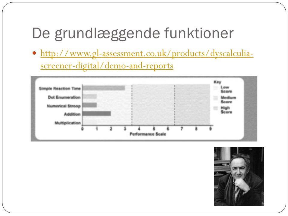 De grundlæggende funktioner  http://www.gl-assessment.co.uk/products/dyscalculia- screener-digital/demo-and-reports http://www.gl-assessment.co.uk/pr