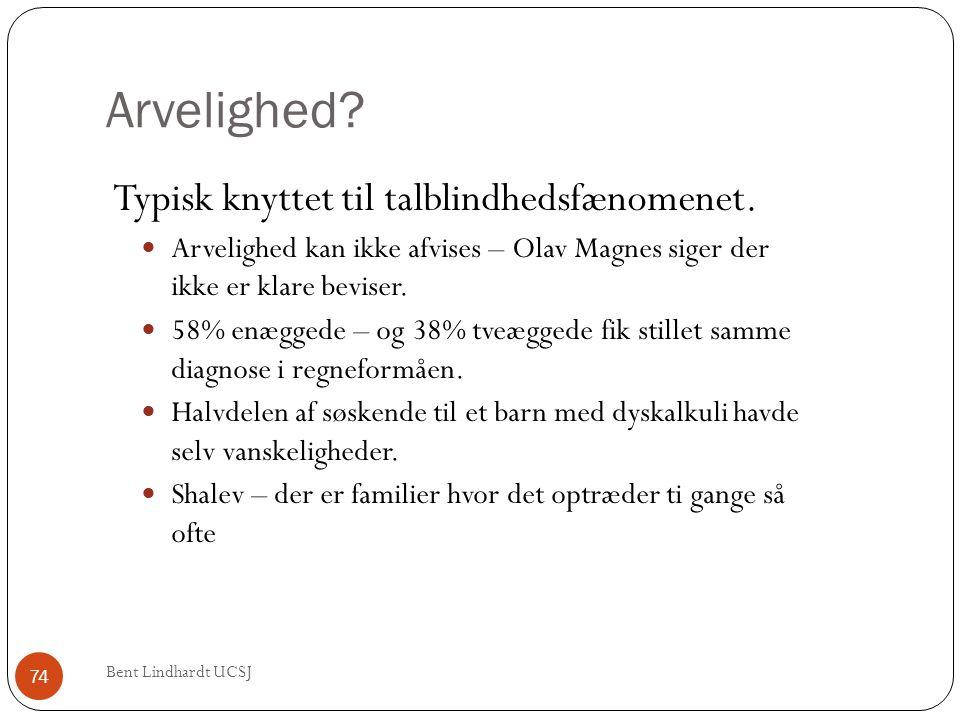 Arvelighed? Typisk knyttet til talblindhedsfænomenet.  Arvelighed kan ikke afvises – Olav Magnes siger der ikke er klare beviser.  58% enæggede – og