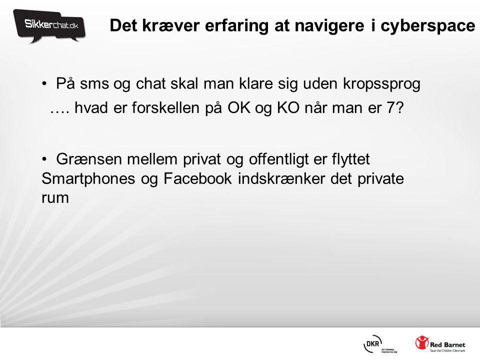 Det kræver erfaring at navigere i cyberspace • På sms og chat skal man klare sig uden kropssprog • Grænsen mellem privat og offentligt er flyttet Smartphones og Facebook indskrænker det private rum ….