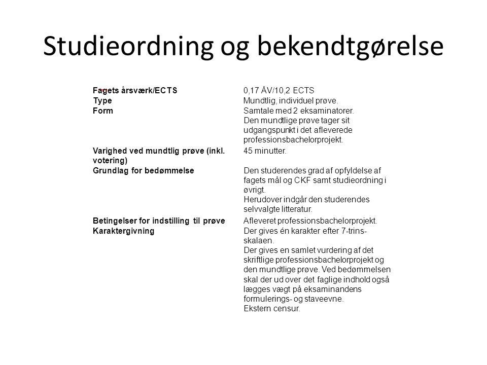 Studieordning og bekendtgørelse Fagets årsværk/ECTS0,17 ÅV/10,2 ECTS TypeMundtlig, individuel prøve. FormSamtale med 2 eksaminatorer. Den mundtlige pr