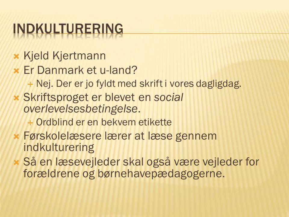  Kjeld Kjertmann  Er Danmark et u-land. Nej. Der er jo fyldt med skrift i vores dagligdag.