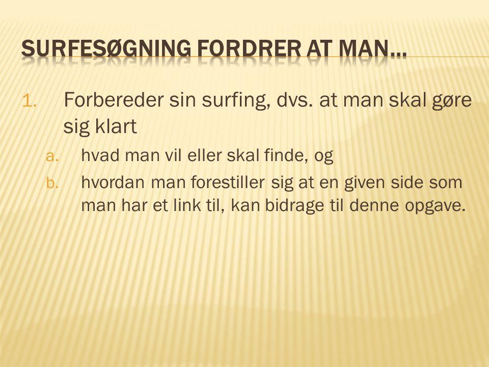 1.Forbereder sin surfing, dvs. at man skal gøre sig klart a.
