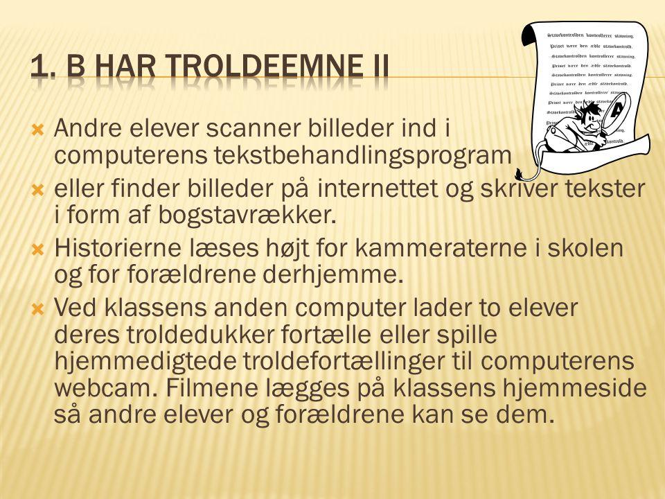  Andre elever scanner billeder ind i computerens tekstbehandlingsprogram  eller finder billeder på internettet og skriver tekster i form af bogstavrækker.