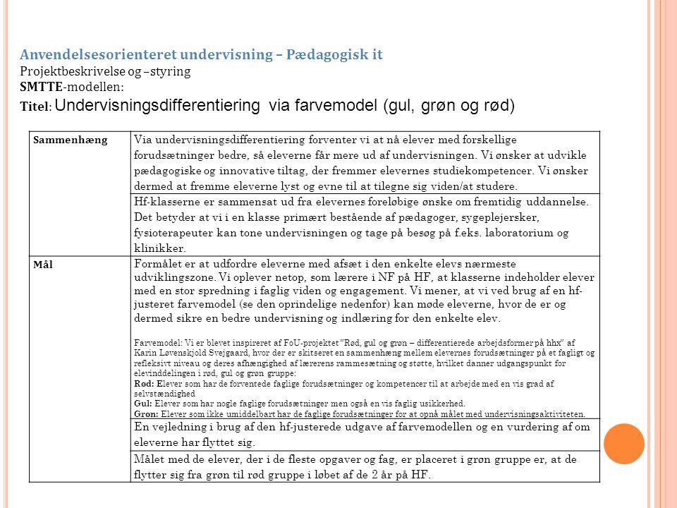 Anvendelsesorienteret undervisning – Pædagogisk it Projektbeskrivelse og –styring SMTTE-modellen: Titel: Undervisningsdifferentiering via farvemodel (