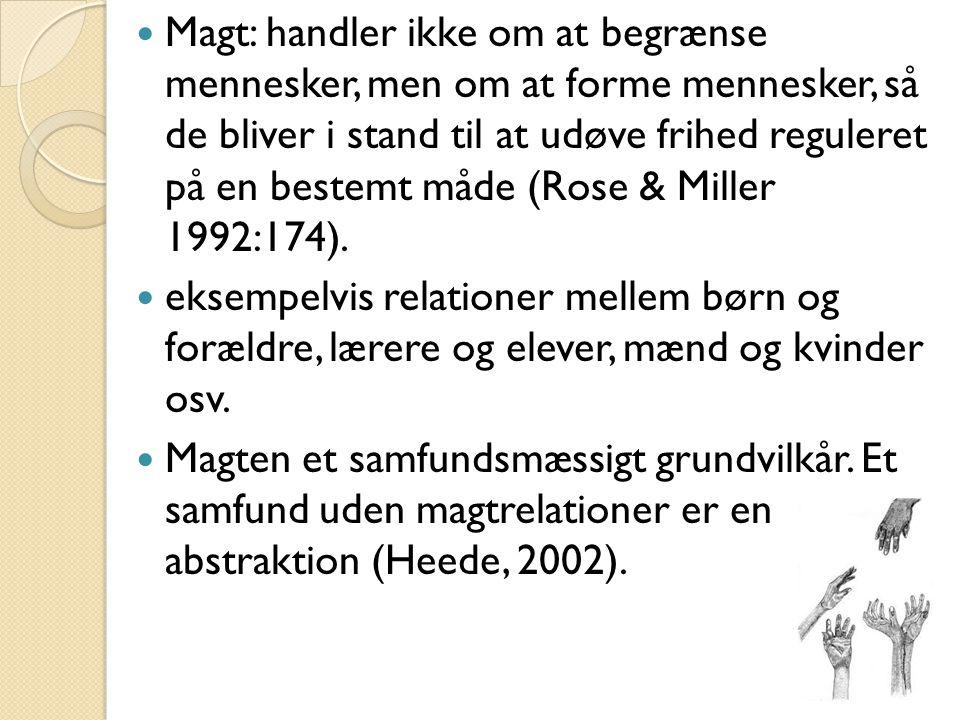 Fire spørgsmål der blev arbejdet med ud fra projektet: (Pedersen 2009:170) Magtperspektivet (voksnes delte opmærksomhed, hvornår bliver det svært): Hvor skabes der udsatte positioner.