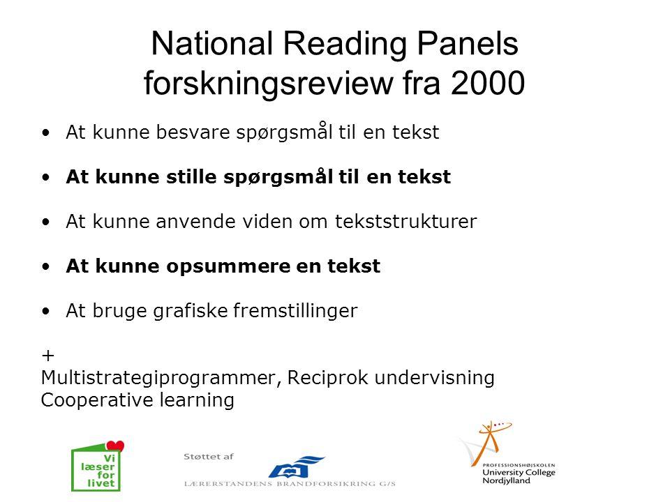 National Reading Panels forskningsreview fra 2000 •At kunne besvare spørgsmål til en tekst •At kunne stille spørgsmål til en tekst •At kunne anvende v