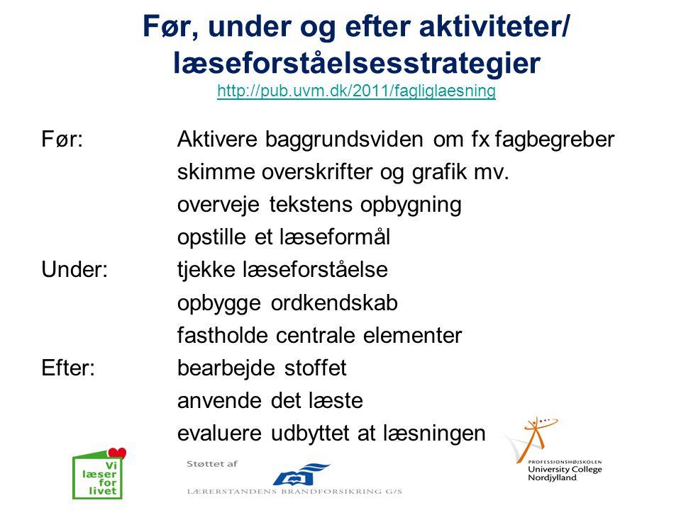 Før, under og efter aktiviteter/ læseforståelsesstrategier http://pub.uvm.dk/2011/fagliglaesning http://pub.uvm.dk/2011/fagliglaesning Før: Aktivere b