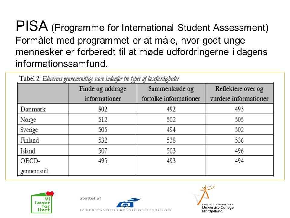 PISA (Programme for International Student Assessment) Formålet med programmet er at måle, hvor godt unge mennesker er forberedt til at møde udfordring